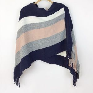 Sweaters - Striped Fringe Poncho One Size (1476)
